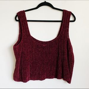 blackberry red soft chenille knit cropped tank top